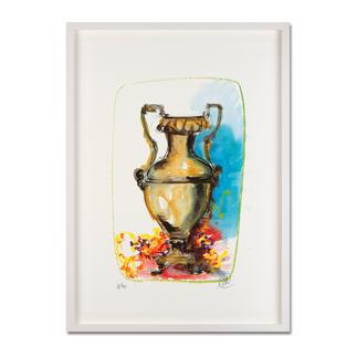 Markus Lüpertz – Vase 1 Keine Lüpertz-Edition ist wie diese. Einer seiner seltenen farbenfrohen Siebdrucke. Gering limitiert mit 40 Exemplaren. Maße: gerahmt 57 x 79 cm