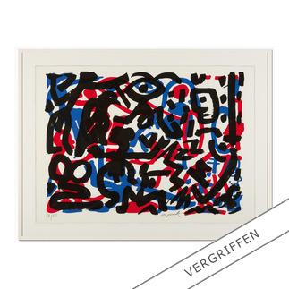 """A. R. Penck: """"Weiterarbeit"""" A. R. Penck in den wichtigsten Museen der Welt – und jetzt als limitierter Siebdruck bei Ihnen zu Hause. Die letzten 15 Exemplare der Edition """"Weiterarbeit"""" exklusiv bei Pro-Idee."""