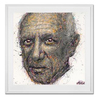 STALE – Think different/Picasso STALE: Senkrechtstarter dank weltweit einzigartiger Technik. Bemerkenswertes Picasso-Portrait im Action Painting erschaffen. 40 Exemplare.