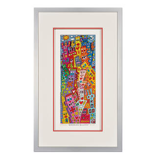James Rizzi – Borderless Buildings 3D-Papierskulpturen des verstorbenen James Rizzi. 50 Exemplare. Maße: gerahmt 24 x 40 cm
