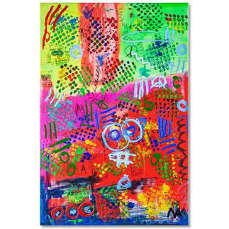 Mikail Akar – Mika City Mit 7 Jahren schon 5-stellige Verkaufspreise. Handübermalte Edition von Deutschlands jüngstem Abstraktkünstler Mikail Akar. Maße: 80 x 120 cm