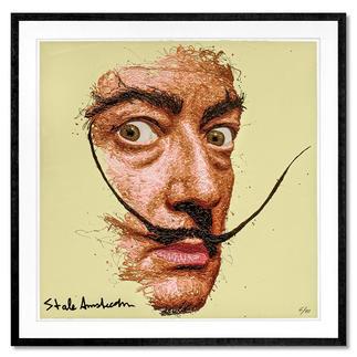 STALE Amsterdam – Dali STALE Amsterdam: Senkrechtstarter dank weltweit einzigartiger Technik. Bemerkenswertes Dali-Portrait, im Action Painting erschaffen. 40 Exemplare. Maße: gerahmt  72 x 72 cm