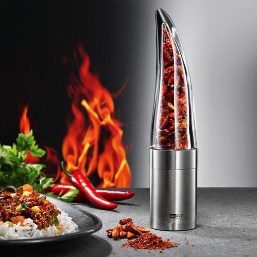 Chilimühle Pepe Feurige Chilis – leichter, schneller und sicherer hauchfein schneiden. Und exakt dosieren.