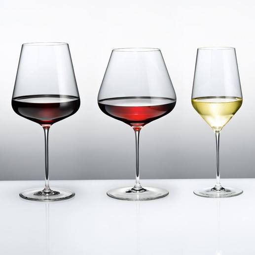 Die Weingläser namhaftester Glashütten im Profi-Test: Dies sind die Sieger. (Von links nach rechts: Bordeauxglas, Burgunderkelch, Weißweinglas)