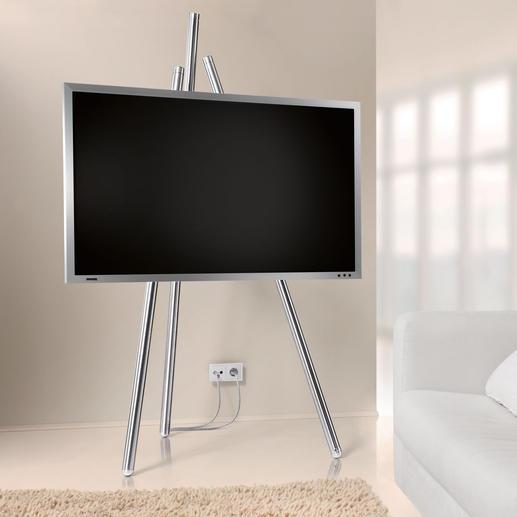 Flat-TV-Staffelei, Version ab 2017 - Bietet beste Sicht auf Ihren Flachbild-Fernseher. Und lässt unschöne Kabel geschickt verschwinden.