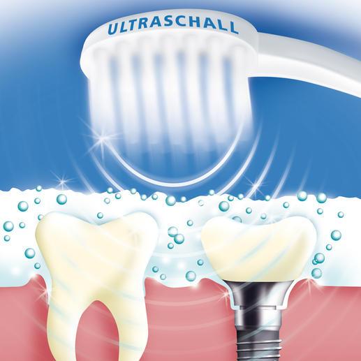 """84 Millionen Luftschwingungen pro Minute schäumen die spezielle Ultraschall-Zahncreme mikrofein auf. Beim Implodieren der Bläschen werden Speisereste, Plaque, Bakterien, ... und Verfärbungen sanft entfernt. (Dies funktioniert leider nicht mit einer """"normalen"""" Zahncreme.)"""