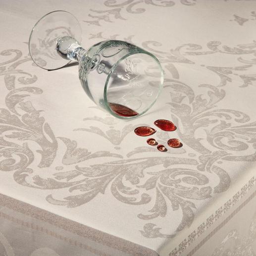 Durch die Teflon®-Ummantelung dringt selbst Rotwein nicht ins Garn ein. Einfach abtupfen genügt.