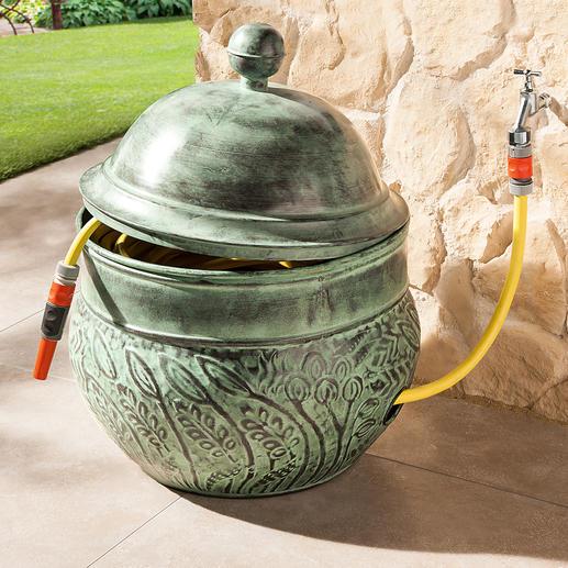 """Schlauch-Kübel """"Key West"""" - Aus pulverbeschichtetem Stahl. Fasst bis zu 45 m Schlauch – wohlgeordnet und bequem griffbereit."""