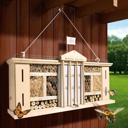 """Insektenhotel """"White Palace"""" - Luxuriöser Schlaf- und Nistplatz. Reine Naturmaterialien bieten artgerechte Refugien."""
