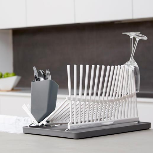 Design-Geschirrabtropfer - Sicherer Halt auch für hohe Gläser. Platzsparend klappbar.