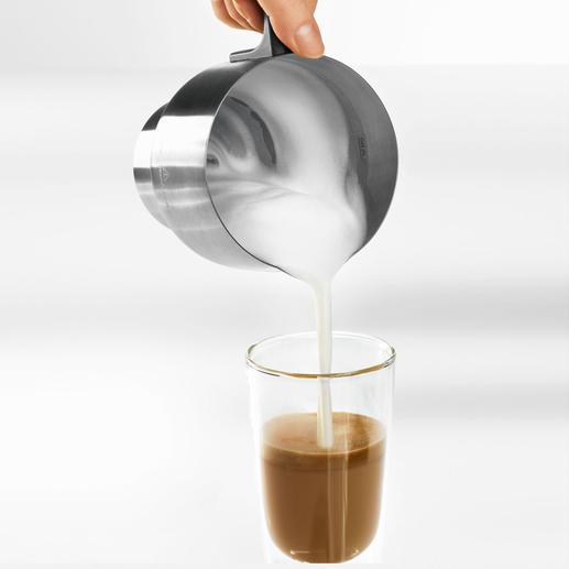 In ca. 2:24 Min. sind z. B. 200 ml Milch (9 °C) auf 60-65 °C erhitzt und feinporig aufgeschlagen.