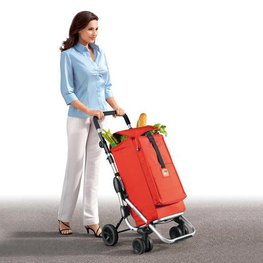 Einkaufswagen Go up - Der erste Einkaufswagen mit wendigen Drehrädern. Kippsicher und leicht laufend, auch über holpriges Pflaster.