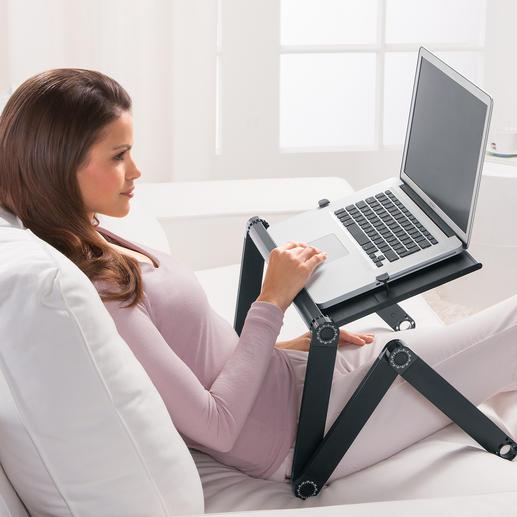 Vario-Laptoptisch - Im Bett, auf der Couch, unterwegs, ... Genial variable Gelenkkonstruktion. 1.700 g leicht.