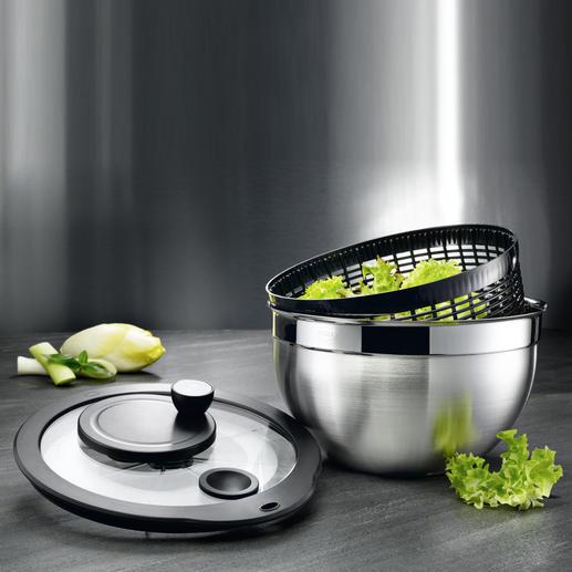 Rösle Edelstahl-Salatschleuder - Zum hygienischen Reinigen komplett zerlegbar. Aus unverwüstlichem 18/10-Edelstahl (statt Plastik).