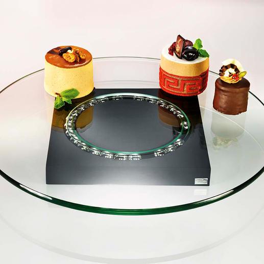 """Glas-Drehplatte """"Lazy Susi"""" - Ohne Anreichen. Ohne Aufstehen. Das Design-Karussell serviert auf dem Tisch."""