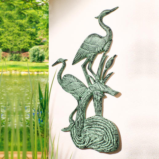 Wandrelief Fischreiher 86 cm hoch. 100 %ig wetterfest, mit wunderschöner Patina. Aus massivem Aluminium. Elegant für drinnen & draußen.