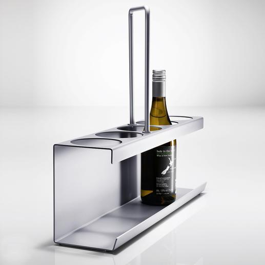 Schlanker Flaschenträger - In elegantem Aluminium-Design. Tragkräftig und stabil – dennoch handlich leicht und platzsparend.