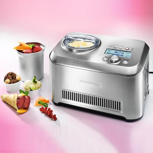 Gastroback Eismaschine Advanced Automatic inkl. zusätzlichem Eisbehälter - Professionell, variantenreich, perfekte Technik: 12 Zubereitungsprogramme und sensorgesteuerter Rührzeit-Automatik.