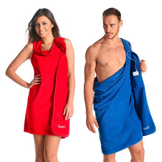 2-in-1 Handtuch - Mit 2 Handgriffen vom Strandtuch zur Tunika oder Toga. Ein zusätzliches Kleidungsstück im Reisegepäck gespart.