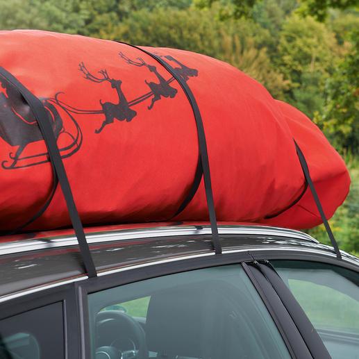 Dank angenähter Sicherungsgurte befestigen Sie die Tasche auf dem Dachgepäckträger.