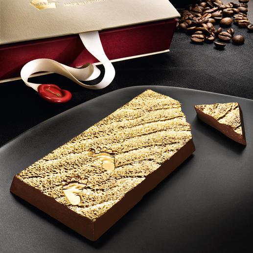 """Schokolade """"Barefoot in the golden sand"""" - Ein Stück Luxus von einem der weltbesten Chocolatiers. Grand-Cru-Schokolade trifft 999er Feingold."""