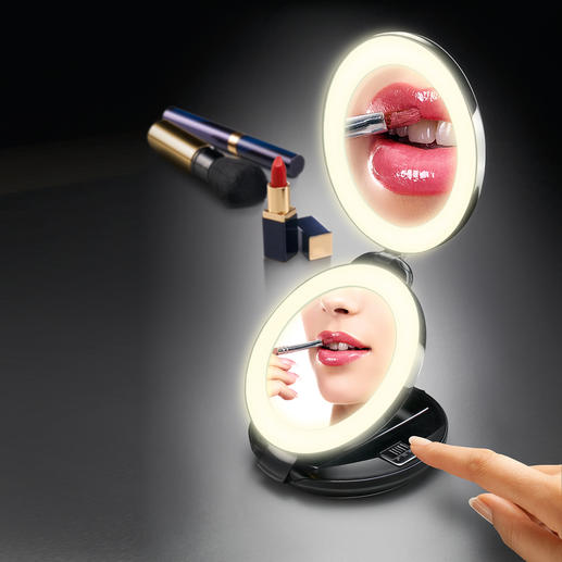 2-in-1-Klappspiegel - Handspiegel und 10fach-Vergrößerungsspiegel in Ihrer Hand. Doppelspiegel mit LED-Beleuchtung.