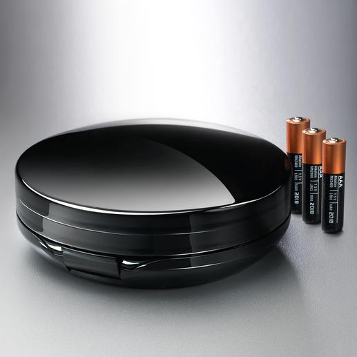 Der 2-in-1-Klappspiegel funktioniert mit 3 Mikro-Batterien (separat erhältlich) bis zu 3 Stunden.