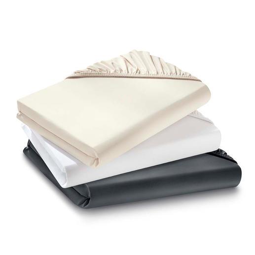 Luxus-Spannbetttuch - Endlich knitterfrei. Extra schwerer Baumwoll-Jersey (230 g/m²).