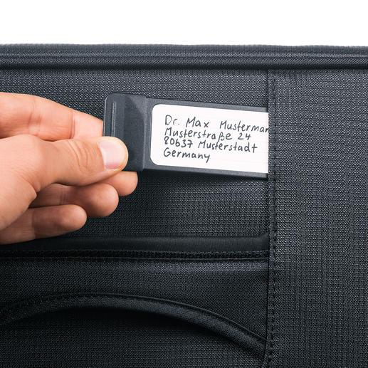 Durch den herausziehbaren, integrierten Adress-Anhänger kann der Koffer problemlos zugeordnet werden, ohne dass jeder Einblick in Ihre persönlichen Daten erhält.