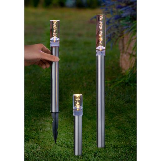 Solar LED Leuchtstäbe, 3er-Set - Feinperliges Leuchten verzaubert des Nachts Ihren Garten, Ihre Terrasse.
