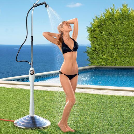 Solardusche Sunny Premium Angenehm temperiertes Wasser statt kaltem Schauer – nur durch die Kraft der Sonne.