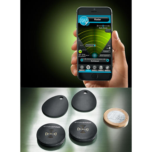 Stick-N-Find Funk-Sticker, 2er-Set - Auf Fingertipp lokalisiert Ihr Smartphone Schlüsselbund, Handtasche, Portmonee, ...