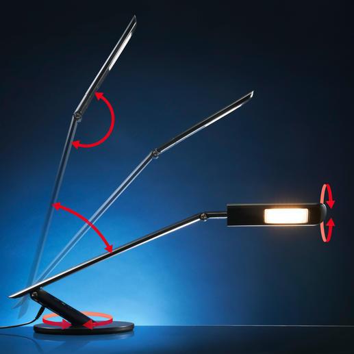 Die Leuchte ist um 180° drehbar, der Leuchtenkopf separat um 180°. Höhe und Neigung sind an 2Kippgelenken stufenlos variierbar.
