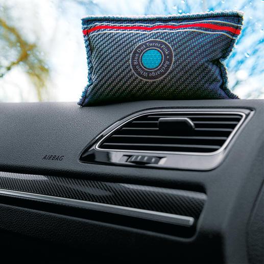 Autoentfeuchter mit Indikator, 2er-Set - Schützt vor beschlagenen Autoscheiben. Und zeigt an, wann er getrocknet werden muss.