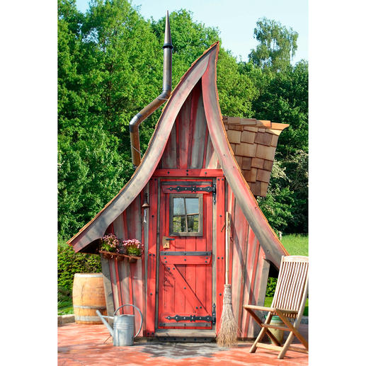 """Modell """"Buck"""": Hier können Fahrräder, Blumen, Gartengeräte, die Hobbywerkstatt, die Kinderwagen oder das Bootszubehör mit den Gartenstühlen überwintern. Ein funktionales Mehrzweckhaus im Märchenstyle."""