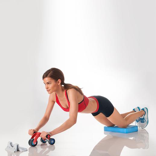 Anpassbar für jeden Trainingsstand: leichter ohne, schwieriger mit Rollensockel.