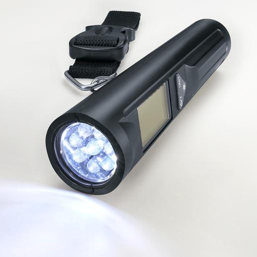 Mit 8hell strahlenden LEDs macht sich Ihre Gepäckwaage auch als Taschenlampe nützlich.