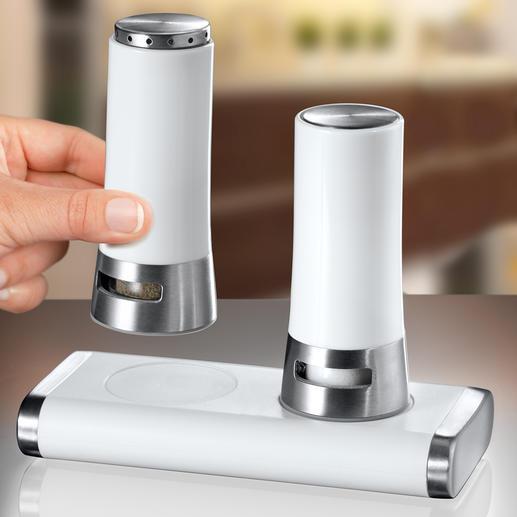 """Salz- und Pfefferstreuer """"Magnetic"""" - Auf und zu wie von Zauberhand: Mit Magnet(haft)kraft. Kippsicher. Mit Automatik-Verschluss."""