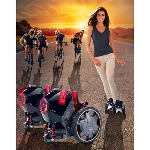 Die RocketSkates beschleunigen und bremsen Sie genau wie die beliebten Personal-Transporter: einfach per Gewichtsverlagerung.