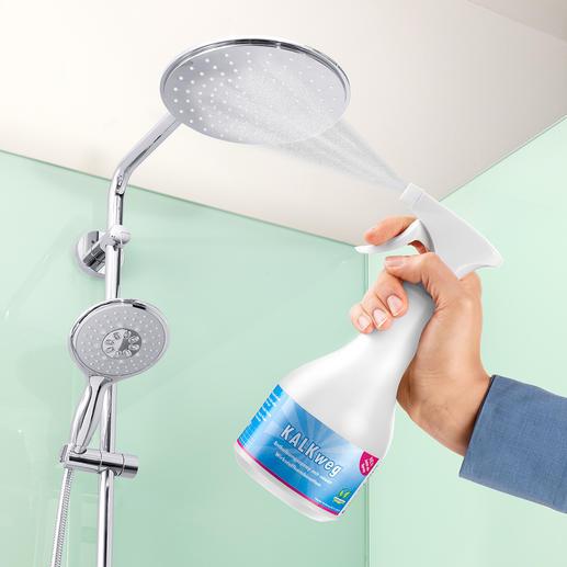 Sonst nur schwer zu reinigen: die Wasseraustrittsdüsen hoch angebrachter Duschköpfe.
