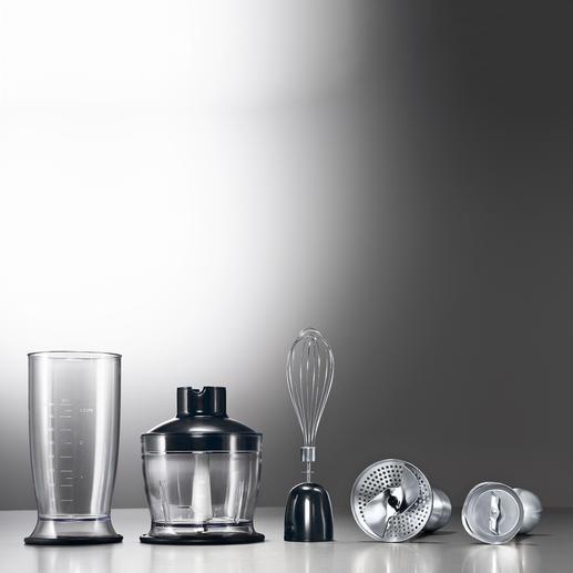 Mixbehälter, Zerkleinerer, Schneebesen, Kartoffelpüree-Aufsatz, Pürierstab.