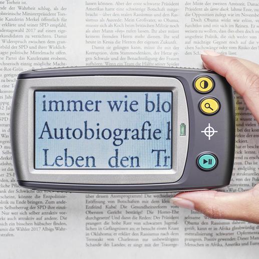 Digitallupe mit Display - Kleingedrucktes lesen - ganz bequem. Vergrößert 5- bis 28fach. Oder bis zu 250fach auf Ihren TV-Bildschirm.