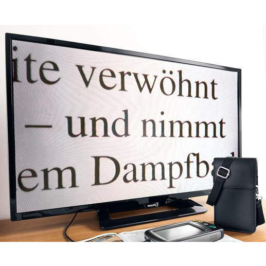 Zum Betrachten der Dinge auf Ihrem großen Bildschirm schließen Sie einfach das mitgelieferte 1-m-Videokabel mit 3,5-mm-Klinkenbuchse an den Fernseher an.