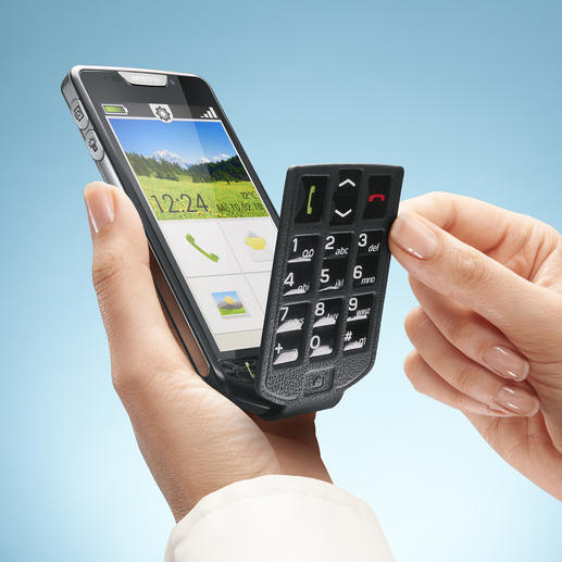 Gewohnt bequemes Tippen: Einfach den passenden Gehäusedeckel aufsetzen und die anhängende Tastatur über das Touch-Display klappen.