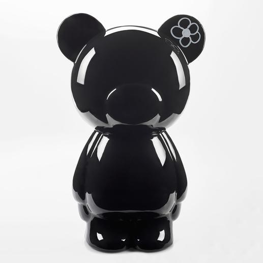 Beschreibbarer Teddy, schwarz - Kunstvoll von Hand gegossen und hochglänzend lackiert. Perfekt in jedem Ambiente, zu Hause und im Büro.