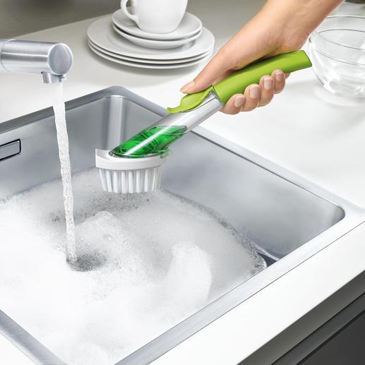 Spülbürste Green & Clean® - Hygienischer, sparsamer, bequemer: die antibakterielle Geschirrbürste mit Spülmittel-Depot.