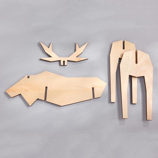 Schieben Sie die lasergenau geschnittenen Formteile einfach zu 3D-Figuren ineinander – schon steht Ihre viel bestaunte Winter- und Weihnachtsdekoration.