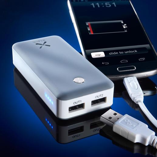 Xtorm Powerbank Air 6.000 oder Xtorm Powerbank Free 15.000 - Lädt 2 Mobilgeräte gleichzeitig. Mit Highspeed. Sogar energiehungrige Tablets.