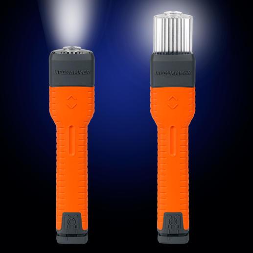 Per Knopfdruck fährt der Leuchtkopf aus – schon wird Ihre Autotaschenlampe zu einer weithin sichtbaren Signalleuchte.