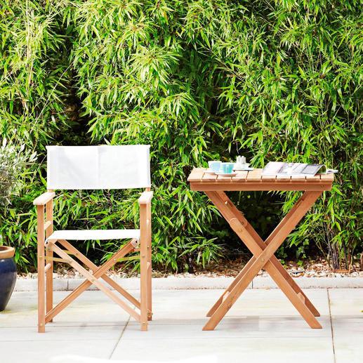 Teak-Regiesessel oder Klappbarer Teaktisch - Viel komfortabler (und schöner): der Regiesessel aus edlem Teak. Für drinnen und draußen.